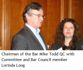 Chairman of the Bar Mike Todd QC with Committee and Bar Council member Lorinda Long
