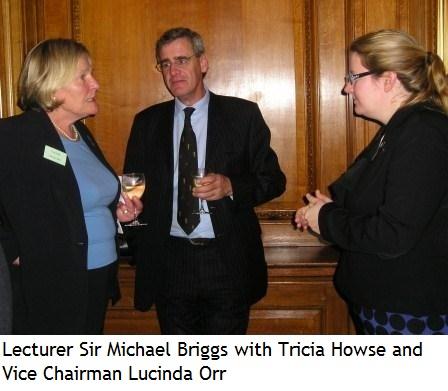 Lecturer Sir Michael Briggs with Tricia Howse and Vice Chairman Lucinda Orr